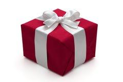 Contenitore di regalo rosso con il nastro bianco. immagine stock