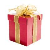 Contenitore di regalo rosso con il nastro del regalo Immagine Stock