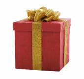 Contenitore di regalo rosso con l'arco dell'oro Fotografie Stock