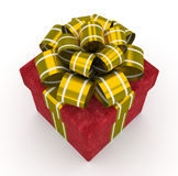 Contenitore di regalo rosso con l'arco dell'oro isolato su fondo bianco 4 Immagini Stock Libere da Diritti