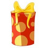 Contenitore di regalo rosso del cilindro con l'arco giallo Fotografia Stock Libera da Diritti