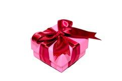 Contenitore di regalo rosso di rosa dell'arco Fotografia Stock Libera da Diritti