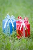 Contenitore di regalo rosso e blu Fotografie Stock