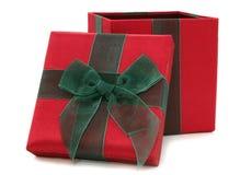 Contenitore di regalo rosso e verde del tessuto Fotografie Stock Libere da Diritti