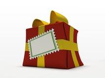 Contenitore di regalo rosso isolato su priorità bassa bianca Fotografia Stock Libera da Diritti
