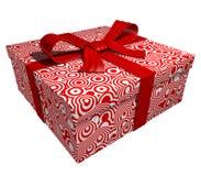 Contenitore di regalo rosso - nastro rosso Fotografia Stock