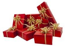 Contenitore di regalo rosso sopra i precedenti bianchi Fotografie Stock