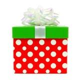 Contenitore di regalo rosso, verde e bianco di Natale del pois isolato Immagine Stock Libera da Diritti