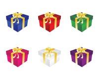 Contenitore di regalo sei con l'arco Fotografia Stock