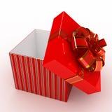 Contenitore di regalo sopra priorità bassa bianca Immagini Stock Libere da Diritti