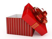 Contenitore di regalo sopra priorità bassa bianca Fotografia Stock