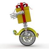 Contenitore di regalo sotto forma di robot sulla ruota Immagini Stock