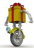Contenitore di regalo sotto forma di robot sulla ruota Fotografia Stock