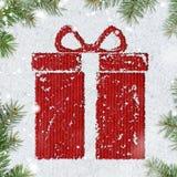 Contenitore di regalo su neve Fotografia Stock Libera da Diritti