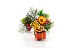 Contenitore di regalo su un fondo dei rami dell'albero di Natale Fotografia Stock