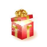 Contenitore di regalo su una priorità bassa bianca Immagini Stock
