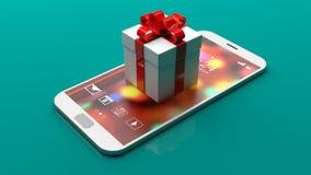 Contenitore di regalo su uno smartphone su fondo verde illustrazione 3D Immagine Stock