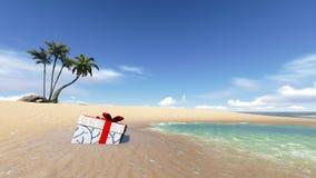 Contenitore di regalo sulla spiaggia Fotografia Stock