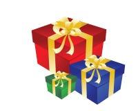Contenitore di regalo tre con l'arco Fotografia Stock