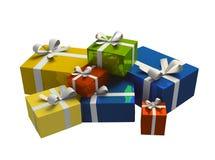 Contenitore di regalo variopinto su priorità bassa bianca Fotografia Stock