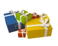 Contenitore di regalo variopinto su priorità bassa bianca Immagine Stock
