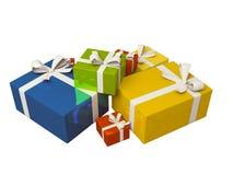 Contenitore di regalo variopinto su priorità bassa bianca Fotografia Stock Libera da Diritti
