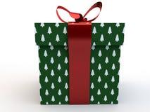 Contenitore di regalo verde con la rappresentazione dell'illustrazione dell'arco 3d del nastro Fotografie Stock Libere da Diritti