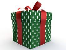 Contenitore di regalo verde con la rappresentazione dell'illustrazione dell'arco 3d del nastro Immagini Stock Libere da Diritti
