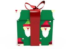 Contenitore di regalo verde con la rappresentazione dell'illustrazione dell'arco 3d del nastro Immagini Stock