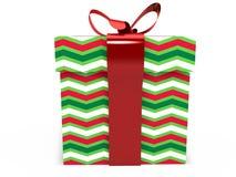Contenitore di regalo verde con la rappresentazione dell'illustrazione dell'arco 3d del nastro Fotografia Stock