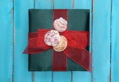 Contenitore di regalo verde con le conchiglie e l'arco Immagini Stock