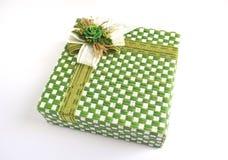 Contenitore di regalo verde di struttura Fotografia Stock Libera da Diritti