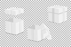 Contenitore di regalo vuoto bianco del modello su un fondo trasparente Vettore Fotografia Stock Libera da Diritti