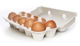 Contenitore di scatola con le uova marroni Fotografia Stock Libera da Diritti
