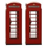 Contenitore di telefono britannico rosso classico due, isolato sopra immagini stock libere da diritti