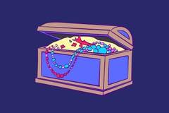 Contenitore di tesoro per stoccaggio di gioielli Cofanetto decorativo con le monete di oro, collane illustrazione di vettore del  illustrazione vettoriale