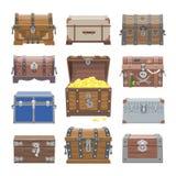 Contenitore di tesoro di vettore del petto con ricchezza dei soldi dell'oro o petti di legno del pirata con l'insieme dorato dell royalty illustrazione gratis