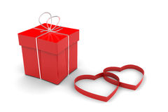 Contenitore e cuori di regalo rossi Fotografie Stock Libere da Diritti