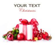 Contenitore e decorazioni di regalo di Natale Immagini Stock Libere da Diritti