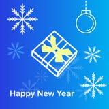 Contenitore e fiocco di neve di regalo nel fondo blu illustrazione vettoriale