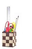 Contenitore e strumenti di cancelleria Fotografia Stock