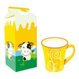 Contenitore e tazza isolati di scatola del latte Immagine Stock Libera da Diritti