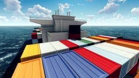 Contenitore enorme sul modo port rappresentazione 3d illustrazione di stock