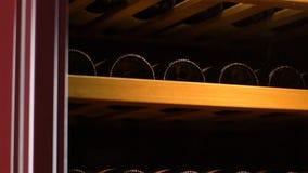 Contenitore freddo di primo piano che immagazzina vibrazione zero di mantenimento del vino video d archivio