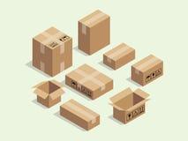 Contenitore isometrico di cartone per l'imballaggio di spedizione con il vettore vario del pacchetto di dimensione illustrazione di stock