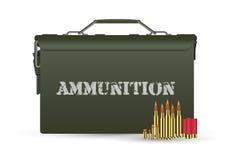 Contenitore militare verde di munizioni con alcune pallottole royalty illustrazione gratis