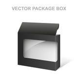 Contenitore nero di pacchetto del prodotto di vettore, interno trasparente e bianco Fotografia Stock Libera da Diritti