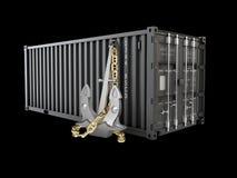 contenitore o container di carico per la logistica ed il trasporto, illustrazione nera isolata 3d Fotografie Stock Libere da Diritti