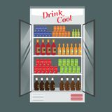 Contenitore per esposizione refrigerato del supermercato in pieno con le bevande e le bevande di multiplo Vettore illustrato per  illustrazione vettoriale