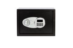 Contenitore sicuro di metallo nero con il sistema bloccato della tastiera numerica Fotografie Stock